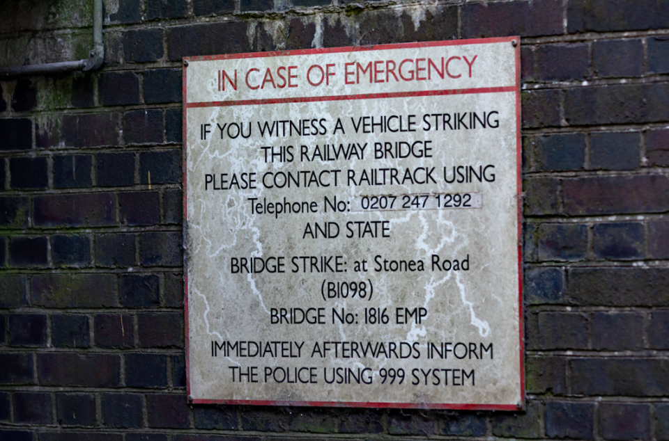 A sign placed at the site of the bridge warns of potential accidents (SWNS)
