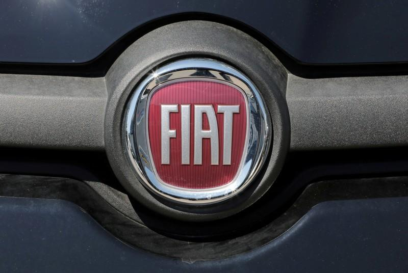 FILE PHOTO: The logo of Fiat carmaker is seen in Nice