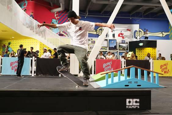 Pro skater, Tom Asta, at the @BonesLoveMilk Shredquarters in Huntington Beach, Calif., Wednesday, July 24, 2019. Asta and @BonesLoveMilk skate teammates dropped into halfpipe at the skatepark pop-up, a week-long program hosted by the California Milk Processor Board dedicated to celebrating skate and California street culture while showcasing the real benefits of milk as nature's energy drink. (Photo by Matt Sayles/Invision for CMPB/AP Images)