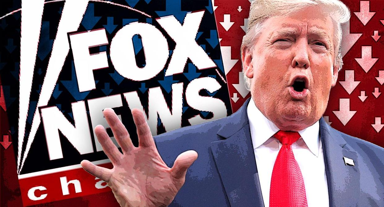 Fox News and Donald Trump. (Photo illustration: Yahoo News; photos: Getty Images, AP)