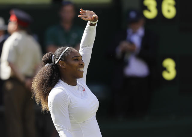 "<a class=""link rapid-noclick-resp"" href=""/olympics/rio-2016/a/1132744/"" data-ylk=""slk:Serena Williams"">Serena Williams</a> beat Camila Giorgi on Tuesday, getting one step closer to her eighth Wimbledon title. (AP Photo/Kirsty Wigglesworth)"