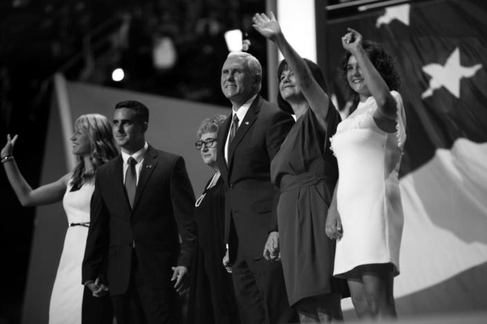 <p>Gov. Mike Pence is joined by his family after his acceptance speech. (Photo: Khue Bui for Yahoo News)</p>