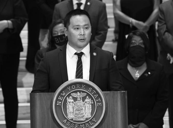 Assemblyman Ron Kim, D-Queens, speaks during a press briefing at the state Capitol in Albany, N.Y. (Hans Pennink, File/AP)