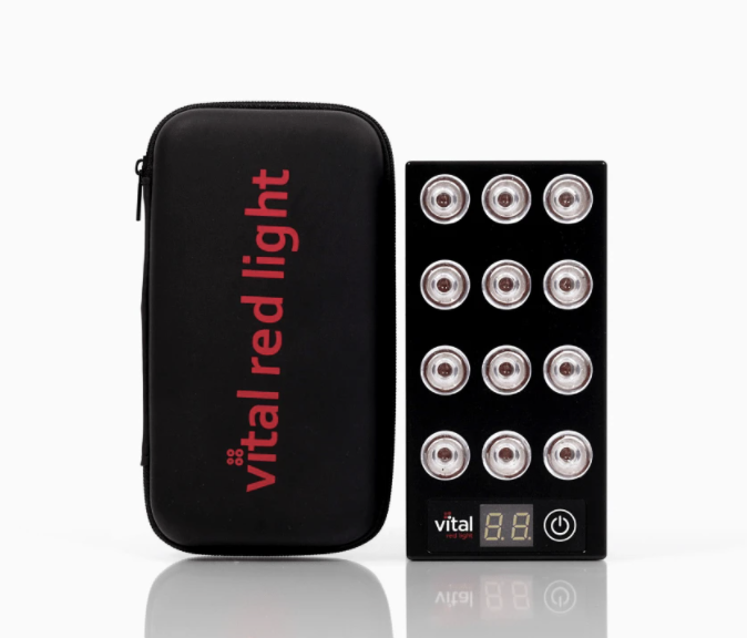 Burke uses the Vital Red Light Therapy Vital Charge, which is a handheld LED light therapy device, for 10 minutes a day for firmer skin. (Photo: Vital Red Light Therapy)
