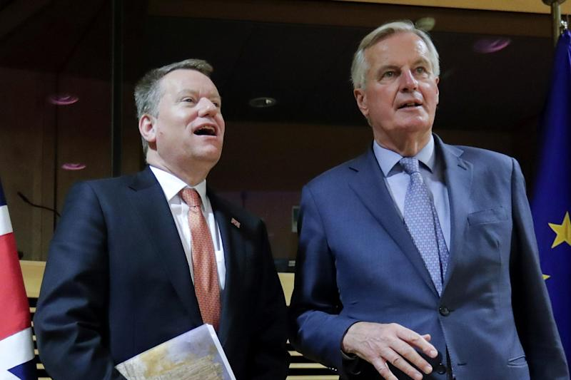 Frost and Barnier (file photo) (Photo by OLIVIER HOSLET/POOL/AFP via Getty Images) (POOL/AFP via Getty Images)