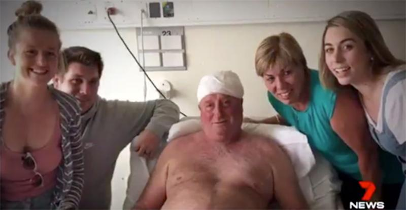 Mr Patterson (centre) in hospital