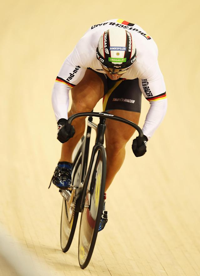 LONDON, ENGLAND - FEBRUARY 19: Robert Forstemann of Germany rides in the Men's Sprint Qualifying during the UCI Track Cycling World Cup - LOCOG Test Event for London 2012 at the Olympic Velodrome on February 19, 2012 in London, England. (Photo by Bryn Lennon/Getty Images)