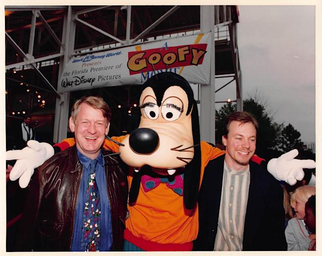 Bill Farmer (left) and his alter ego, Goofy, attend the premiere of <em>A Goofy Movie</em> with the film's director Kevin Lima. (Photo: Courtesy Bill Farmer)