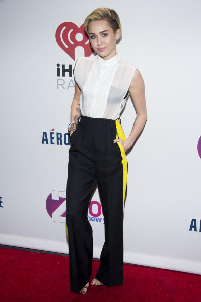 Miley Cyrus attends Z100's Jingle Ball presented by Aeropostale on Friday, Dec. 13, 2013 in New York. (Photo by Charles Sykes/Invision/AP)