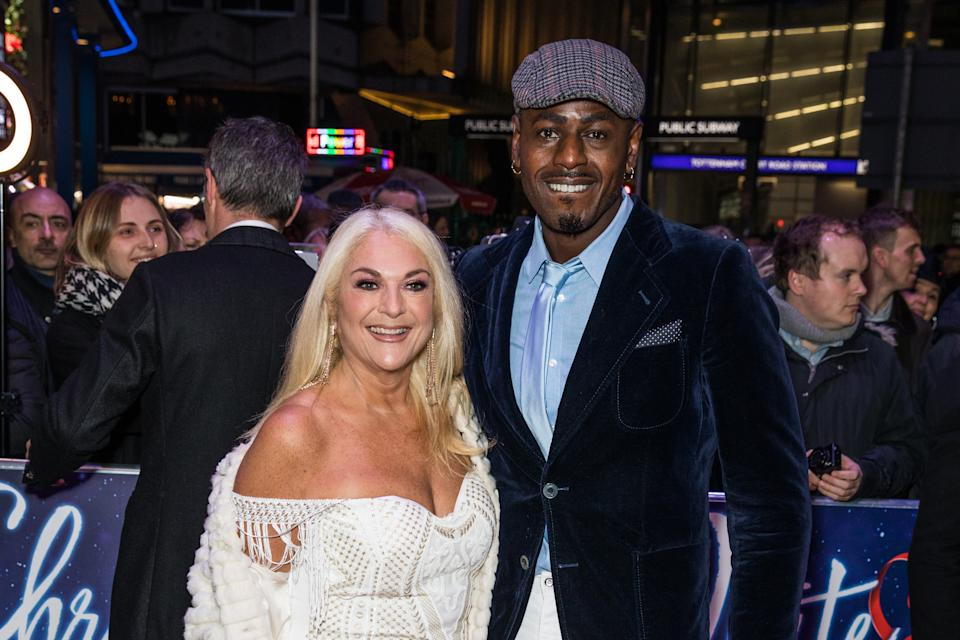 LONDON, UNITED KINGDOM, NOVEMBER 25, 2019: Vanessa Feltz and Ben Ofoedu attend the White Christmas Musical press night at the Dominion Theatre. (Photo by Phil Lewis / SOPA Images/Sipa USA)