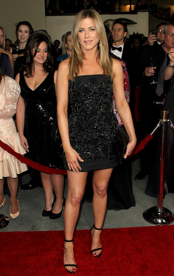 HOLLYWOOD, CA - JANUARY 28:  Actress-director Jennifer Aniston arrives at the 64th Annual Directors Guild Of America Awards held at the Grand Ballroom at Hollywood & Highland on January 28, 2012 in Hollywood, California.  (Photo by Frederick M. Brown/Getty Images)