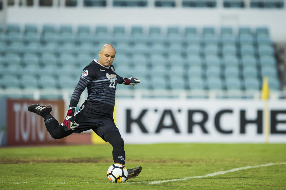 MACAU, MACAU - MAY 16: Goalkeeper Jhonata Ladislau Batista Da Fonseca of Benfica Macau in action during the AFC Cup Group I match between Benfica Macau and Hwaepul at MUST Stadium on May 16, 2018 in Macau. (Photo by Power Sport Images/Getty Images)