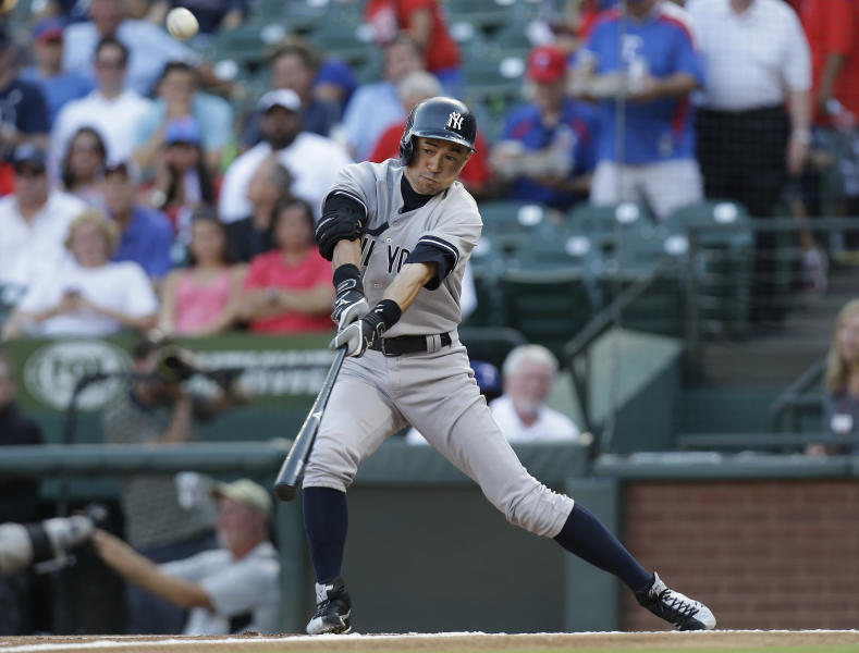 New York Yankees' Ichiro Suzuki, of Japan, hits a foul ball during the first inning of a baseball game against the Texas Rangers, Tuesday, July 23, 2013, in Arlington, Texas. (AP Photo/LM Otero)