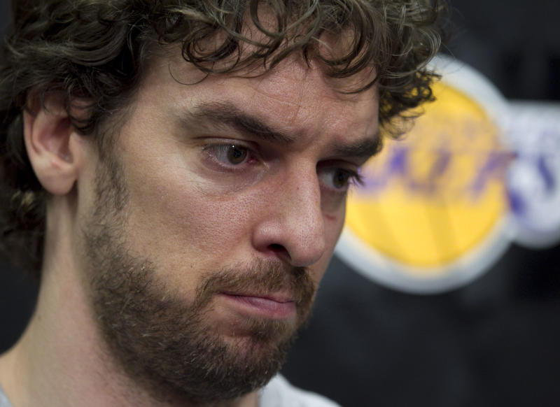 Los Angeles Lakers' Pau Gasol, of Spain, pauses for a moment while speaking with the media during his exit interview at the team's basketball training facility in El Segundo, Calif., Tuesday, May 10, 2011. The Lakers were swept by the Dallas Mavericks in the second round of the NBA playoffs. (AP Photo/Jae C. Hong)