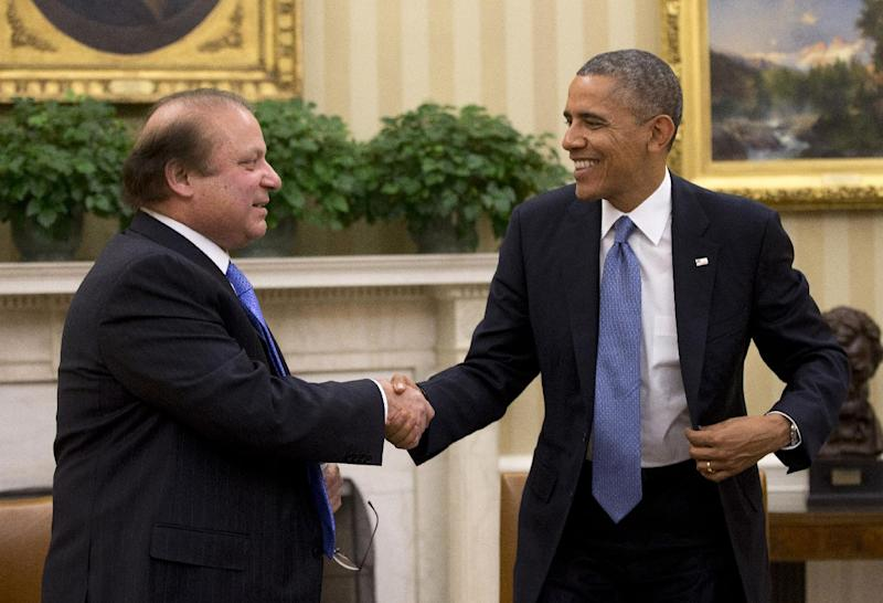 President Barack Obama shakes hands with Pakistan Prime Minister Nawaz Sharif at the conclusion of their meeting in the Oval Office of the White House in Washington, Wednesday, Oct. 23, 2013. In the rocky relationship between the U.S. and Pakistan, the mere fact that Obama and Sharif sit down is seen as a sign of progress. Few breakthroughs are expected on the numerous hot-button issues on their agenda Wednesday, including American drone strikes and Pakistan's alleged support of the Taliban. (AP Photo/Pablo Martinez Monsivais)
