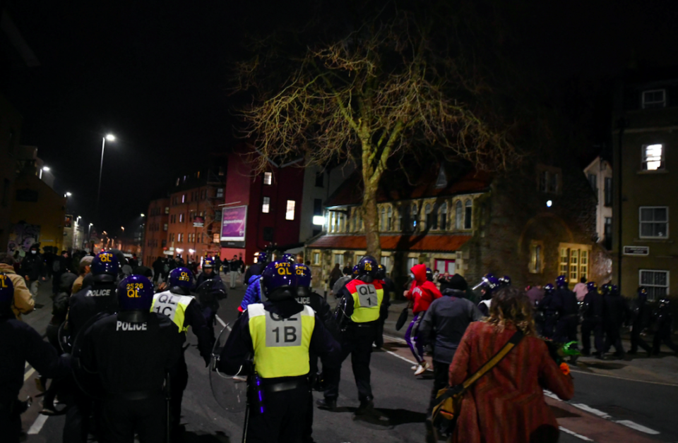 One of those arrested was in connection with the disorder in Bristol on Sunday, Avon and Somerset Police said in a tweet. (SWNS)