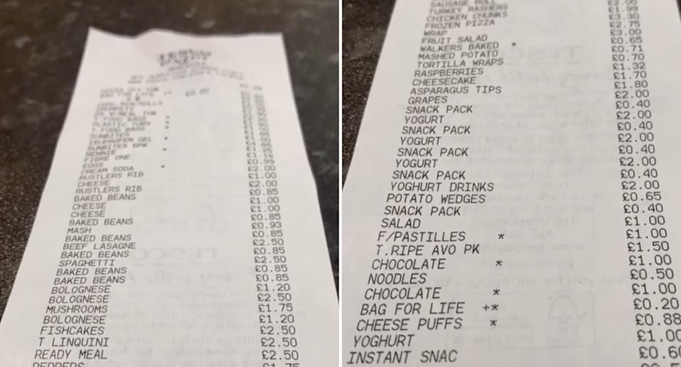 A long grocery receipt is pictured.