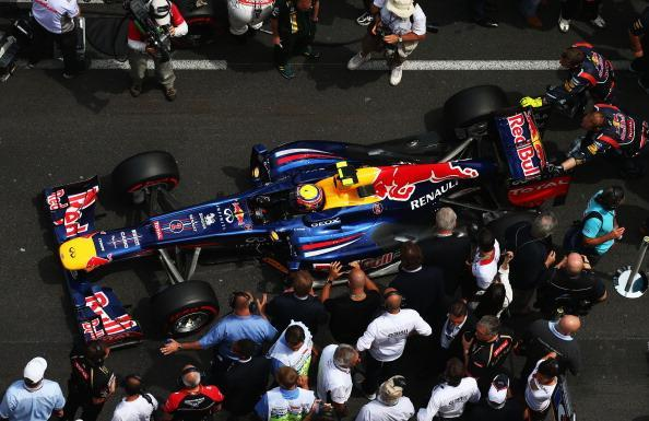 Mark Webber of Australia and Red Bull Racing lines up on the grid before the start of the Monaco Formula One Grand Prix at the Circuit de Monaco on May 27, 2012 in Monte Carlo, Monaco. (Photo by Paul Gilham/Getty Images)