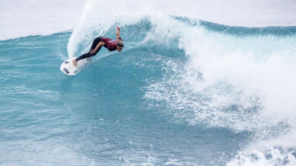 Bronte Macaulay in action at the Margaret River Pro. (Photo by Cait Miers/World Surf League via Getty Images)