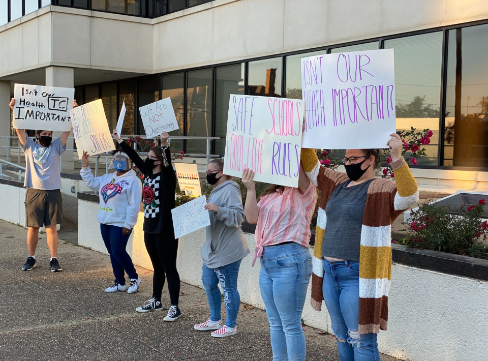 A group of TCHS students protest in front of the Tuscaloosa County School System's headquarters in downtown Tuscaloosa Friday (Photo by Ryan Phillips, Tuscaloosa Patch)