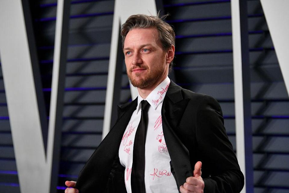 James McAvoy had a sweet reason for allowing his shirt to be defaced [Photo: Getty]