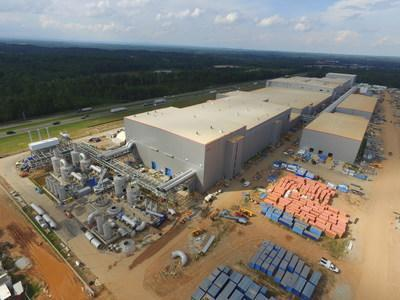 An aerial shot from earlier this year of the SK Battery America site in Commerce, Ga., shows construction progress at the facilities. SK Innovation is building two plants at the Georgia site to make batteries for electric vehicles.