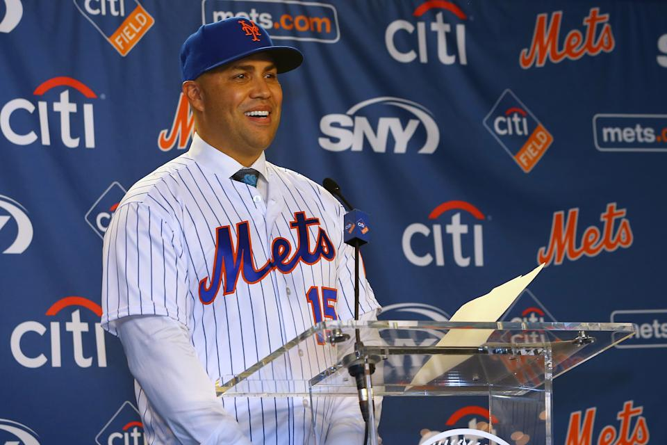 NEW YORK, NY - NOVEMBER 04: Carlos Beltran talks to the media after being introduced as manager of the New York Mets during a press conference at Citi Field on November 4, 2019 in New York City. (Photo by Rich Schultz/Getty Images)
