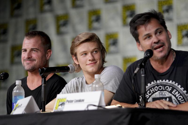 SAN DIEGO - JULY 21: George Eads, Lucas Till, and Executive Producer Peter Lenkov, of the CBS series MACGYVER during the panel discussion at COMIC-CON 2016 in San Diego, California. (Photo by Francis Specker/CBS via Getty Images)