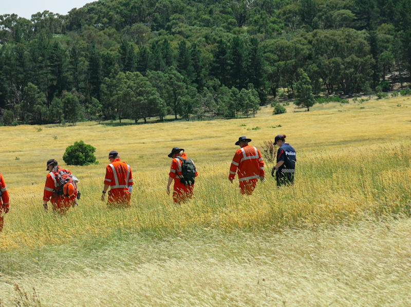 Police and SES scoured bushland in December 2016 in the Gisborne, Mount Macedon area. Photo: AAP