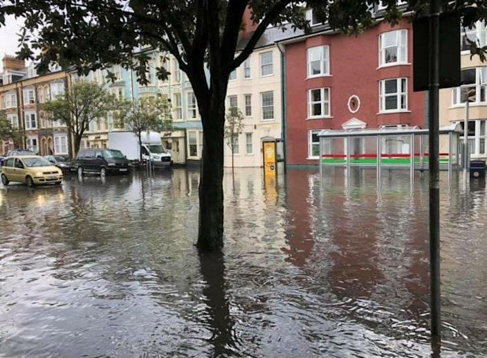 Aberystwyth in Wales was hit by flash flooding on Monday. (Tom Kendall)