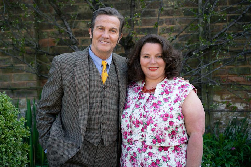 From Objective Fiction / Genial ProductionsThe Larkins on ITV and ITV HubPictured: Pop Larkin [Bradley Walsh] and Ma Larkin [Joanna Scanlan].This photograph is (C) Objective Fiction / Genial Productions and can only be reproduced for editorial purposes directly in connection with the programme or event mentioned above, or ITV plc. Once made available by ITV plc Picture Desk, this photograph can be reproduced once only up until the transmission [TX] date and no reproduction fee will be charged. Any subsequent usage may incur a fee. This photograph must not be manipulated [excluding basic cropping] in a manner which alters the visual appearance of the person photographed deemed detrimental or inappropriate by ITV plc Picture Desk.  This photograph must not be syndicated to any other company, publication or website, or permanently archived, without the express written permission of ITV Picture Desk. Full Terms and conditions are available on the website www.itv.com/presscentre/itvpictures/termsFor further information please contact:james.hilder@itv.com / 0207 157 3052