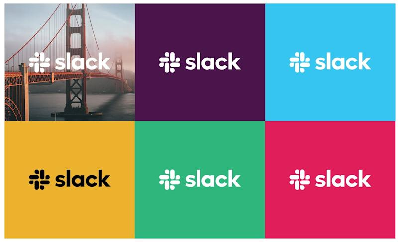 Six colors of Slack logo backgrounds, with one featuring the Golden Gate Bridge.