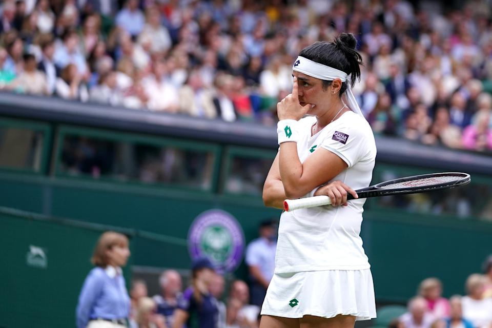 Ons Jabeur appears dejected during her Ladies' singles match against Aryna Sabalenka on day eight of Wimbledon at The All England Lawn Tennis and Croquet Club, Wimbledon. Picture date: Tuesday July 6, 2021. (Photo by Adam Davy/PA Images via Getty Images)