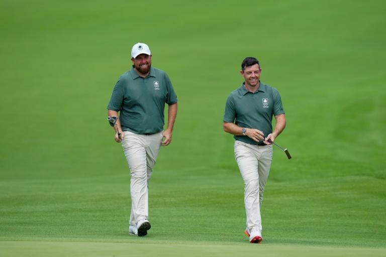 Ireland teammates and good friends Shane Lowry (left) and Rory McIlroy clearly enjoyed playing together in the Tokyo 2020 third round Saturday, as both stayed in medal contention