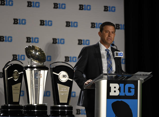 Big Ten Network president Mark Silverman speaks at the Big Ten NCAA college football Media Days. (AP)