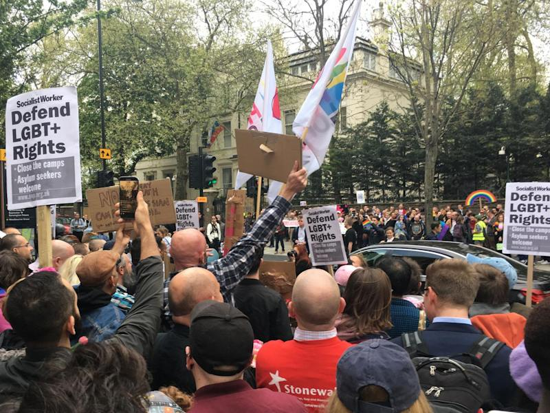 People hold a protest outside Russian Embassy in London, following reports of the torture and murder of gay men in Chechnya on 12 April (Josh Withey)