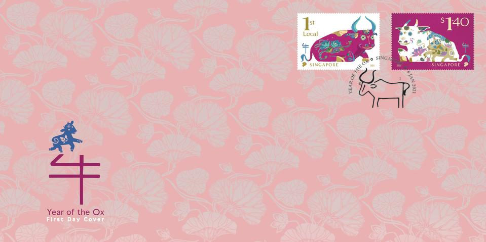 First Day Cover of SingPost stamp set for Year of the Ox (SOURCE: SingPost)