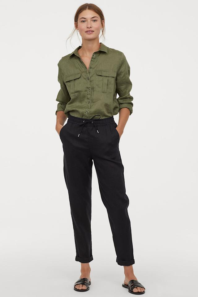 "<p>These cozy <a href=""https://www.popsugar.com/buy/HampM-Linen-Joggers-458095?p_name=H%26amp%3BM%20Linen%20Joggers&retailer=www2.hm.com&pid=458095&price=35&evar1=fab%3Aus&evar9=45679915&evar98=https%3A%2F%2Fwww.popsugar.com%2Ffashion%2Fphoto-gallery%2F45679915%2Fimage%2F46280838%2FHM-Linen-Joggers&prop13=mobile&pdata=1"" rel=""nofollow"" data-shoppable-link=""1"" target=""_blank"" class=""ga-track"" data-ga-category=""Related"" data-ga-label=""https://www2.hm.com/en_us/productpage.0690936004.html"" data-ga-action=""In-Line Links"">H&amp;M Linen Joggers</a> ($35) come in several color choices. </p>"