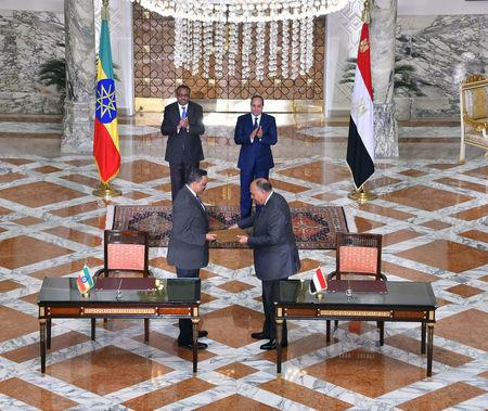 Egyptian President Abdel Fattah al-Sisi (Back-R) and Ethiopian Prime Minister Hailemariam Desalegn gesturing as Egyptian Foreign Minister Sameh Shoukry and Ethiopian Foreign Minister Workneh Gebeyehu exchange documents during the meeting in the Egyptian Presidential Palace in Cairo, Egypt, January 18, 2018 in this handout picture courtesy of the Egyptian Presidency. The Egyptian Presidency/Handout via REUTERS