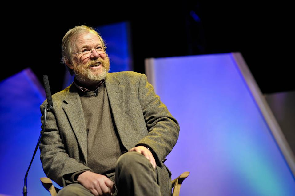 Author Bill Bryson speaks to a full audience at the Hay Festival in Hay-on-Wye.