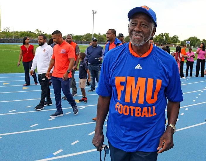 Florida Memorial University former student and board member Charles George wears a shirt celebrating the college's return to football, May 4, 2019. FMU Board of trustees announced the revival of the FMU football team at the Berry T. Ferguson Recreational Complex where their games will be played.