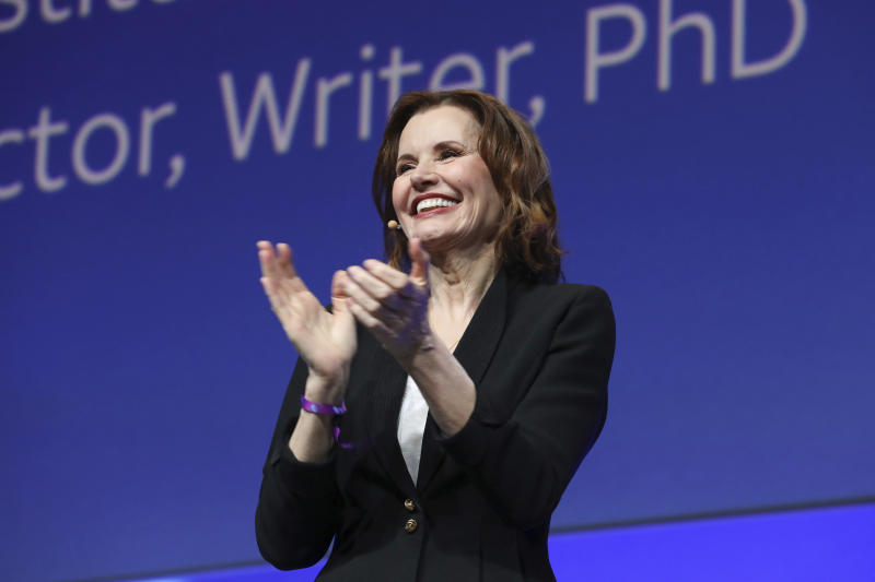 "Geena Davis speaks at the AT&T's SHAPE: ""The Scully Effect is Real"" panel with Geena Davis and Mayim Bialik on Saturday, June 22, 2019 in Burbank, Calif. (Photo by Mark Von Holden/Invision/AP)"