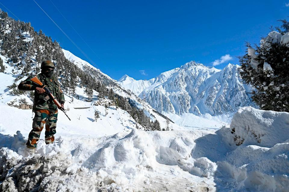 <p>File image: Despite harsh winters, thousands of Indian army troops are deployed in the Ladakh region</p> (AFP via Getty Images)