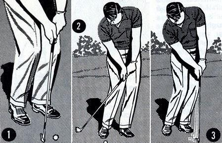 <p>On chip shots from around the edge of a green, we must make certain that the club does not strike the ground before it meets the ball (No. 1).</p> <p>The best way to avoid such scruffed shots is to address the ball with your hands slightly ahead of the ball and with most of your weight on your left foot (No.2 and No. 3)</p> <p>Then keep your weight on your left foot throughout your chipping stroke.</p> <p>Keeping your weight to the left will cause your club to brush the grass and sweep the ball into the air. Only when your hands move behind the ball or your weight shifts to the right will you be in danger of scruffing the shot.</p>
