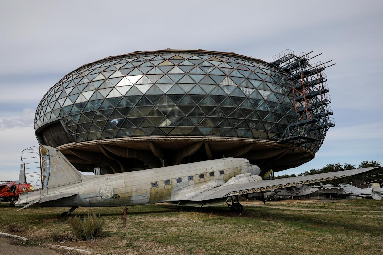 A formally used Yugoslav passenger aircraft sits in front of the Aeronautical Museum in Belgrade, Serbia. (Photo: Marko Djurica/Reuters)