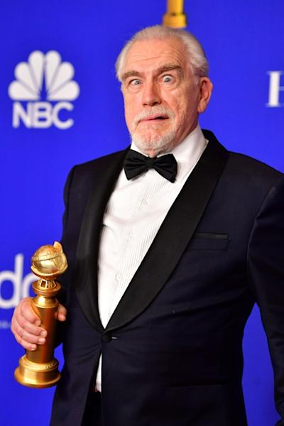 "Scottish actor Brian Cox hams with the award for Best Performance by an Actor In A Television Series - Drama for his star role in the HBO hit ""Succession"""