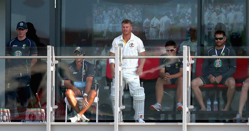 MANCHESTER, ENGLAND - AUGUST 01:  David Warner of Australia waits to bat during day one of the 3rd Investec Ashes Test match between England and Australia at Old Trafford Cricket Ground on August 1, 2013 in Manchester, England.  (Photo by Ryan Pierse/Getty Images)