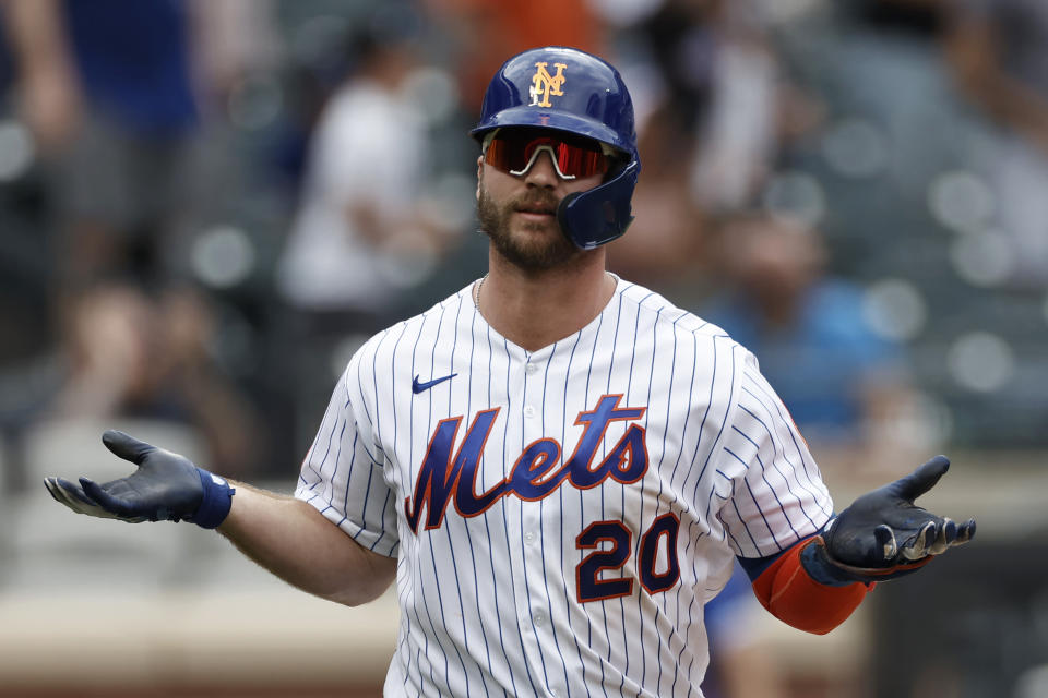 New York Mets' Pete Alonso reacts after hitting a two-run home run in the sixth inning against the Toronto Blue Jays during a baseball game Sunday, July 25, 2021, in New York. (AP Photo/Adam Hunger)
