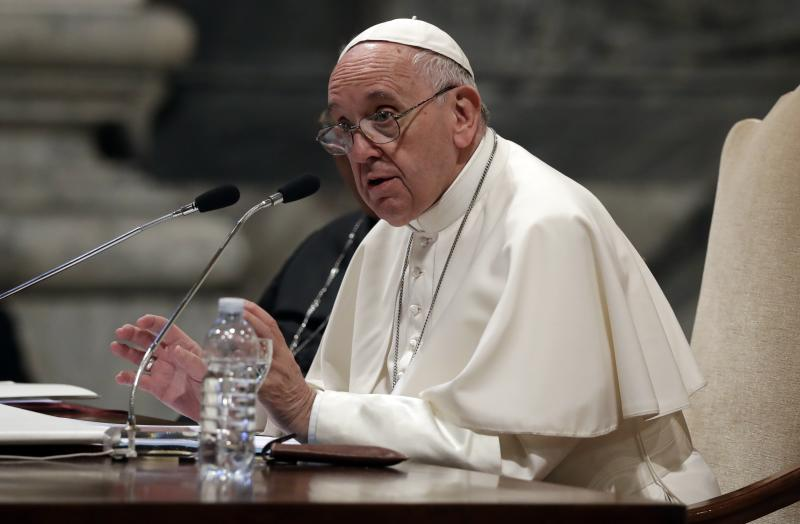 Pope Francis speaks during a meeting with the dioceses of Rome, at the Vatican Basilica of St. John Lateran, in Rome, Thursday, May 9, 2019. (AP Photo/Alessandra Tarantino)