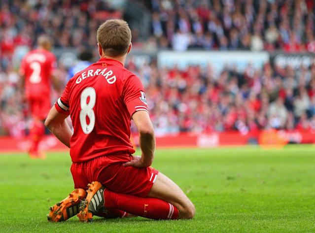 LIVERPOOL, ENGLAND - APRIL 27: Steven Gerrard of Liverpool on his knees during the Barclays Premier League match between Liverpool and Chelsea at Anfield on April 27, 2014 in Liverpool, England. (Photo by Clive Brunskill/Getty Images)
